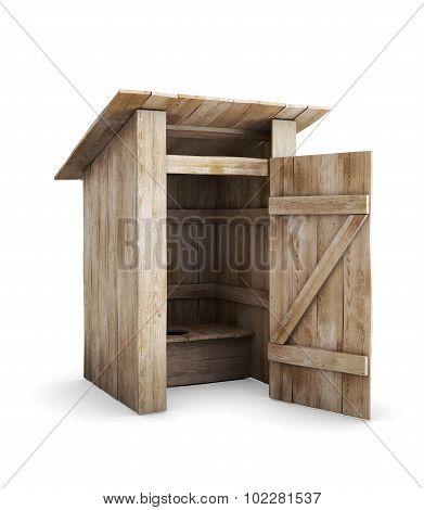 Wooden Toilet With The Door Open