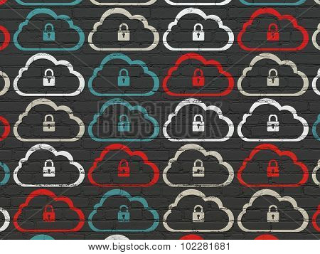 Cloud networking concept: Cloud With Padlock icons on wall background