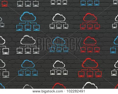 Cloud computing concept: Cloud Network icons on wall background