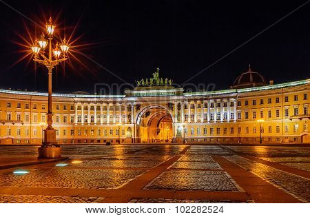 Saint Petersburg/Russia - August 05, 2015: Palace square at night