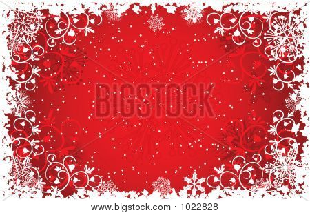 Grunge Snowflakes Background, Vector