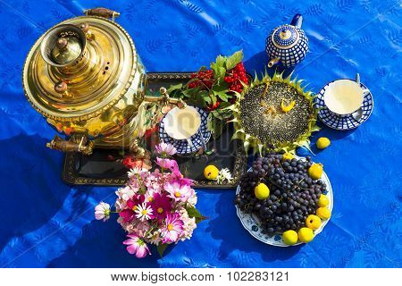 The End Of The Summer. Samovar, Cups Of Tea, Flowers And Gifts Of Autumn - Sunflowers Viograd, Vibur
