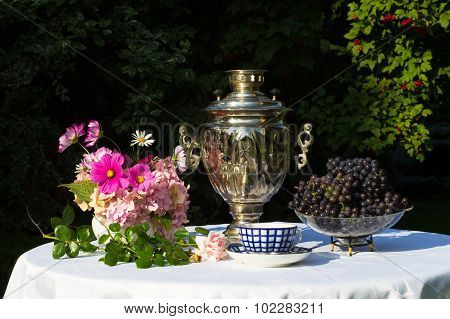 Samovar, Cups Of Tea, Pink Flowers And Grapes On A Table Covered With A White Cloth. The Table Is In