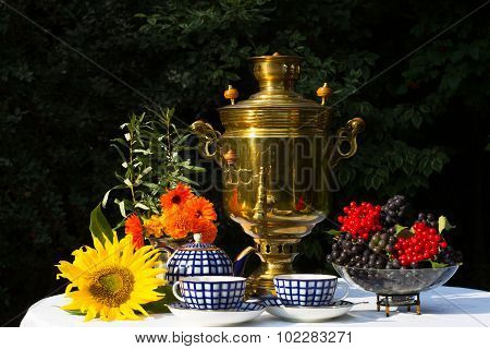 Samovar, Cups Of Tea, Red Flowers With Branches Buckthorn, Flower Sunflower, Viburnum And Vine On A