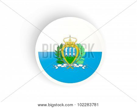 Round Sticker With Flag Of San Marino