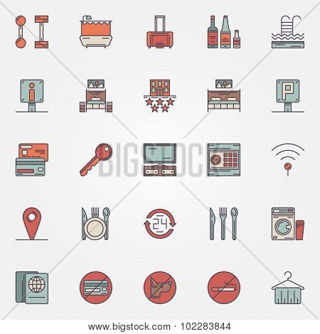 Colorful hotel icons