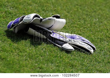 Gloves Of The Goalkeeper Of Paok During Team Practice In Thessaloniki, Greece.