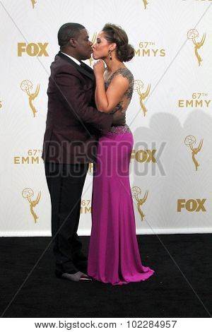 LOS ANGELES - SEP 20:  Tracy Morgan, Megan Wollover at the Primetime Emmy Awards Press Room at the Microsoft Theater on September 20, 2015 in Los Angeles, CA