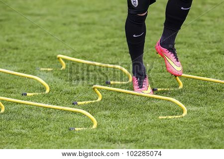 Players Of Paok Training For Better Shape, In Thessaloniki, Greece.