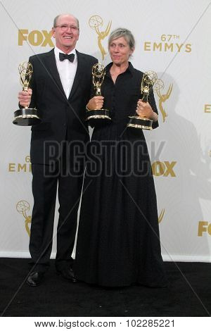 LOS ANGELES - SEP 20:  Richard Jenkins, Frances McDormand at the Primetime Emmy Awards Press Room at the Microsoft Theater on September 20, 2015 in Los Angeles, CA
