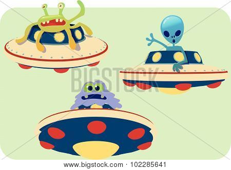 Collection Of Spaceship And Alien