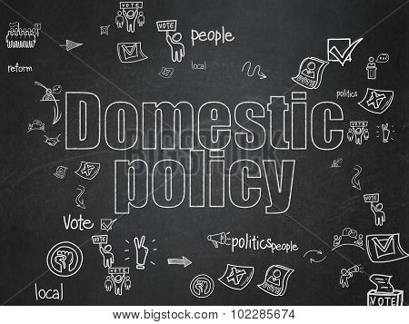 Political concept: Domestic Policy on School Board background