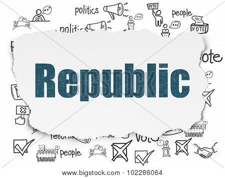 Political concept: Republic on Torn Paper background