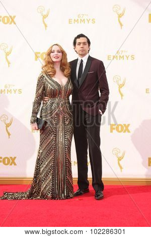 LOS ANGELES - SEP 20:  Christina Hendricks, Geoffrey Arend at the Primetime Emmy Awards Arrivals at the Microsoft Theater on September 20, 2015 in Los Angeles, CA