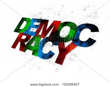 Politics concept: Democracy on Digital background