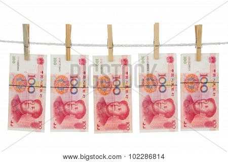 China Currency On Clothesline