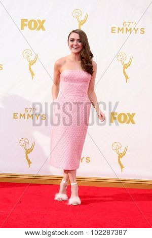 LOS ANGELES - SEP 20:  Maisie Williams at the Primetime Emmy Awards Arrivals at the Microsoft Theater on September 20, 2015 in Los Angeles, CA