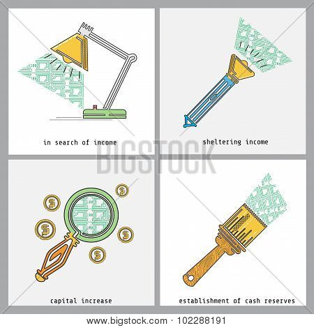 business color line icon in search of income, sheltering income, capital increase, establishment of