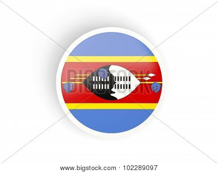 Round Sticker With Flag Of Swaziland