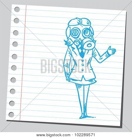Businesswoman with gas mask
