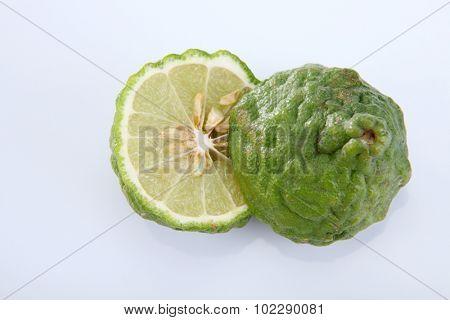 Kaffir Lime on the white background