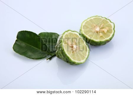 Kaffir Lime with leave on the white background