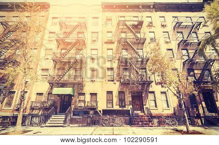 Old Film Retro Style Photo Of New York Street, Usa.