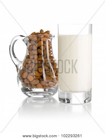 Glass Of Almond Milk With Almonds