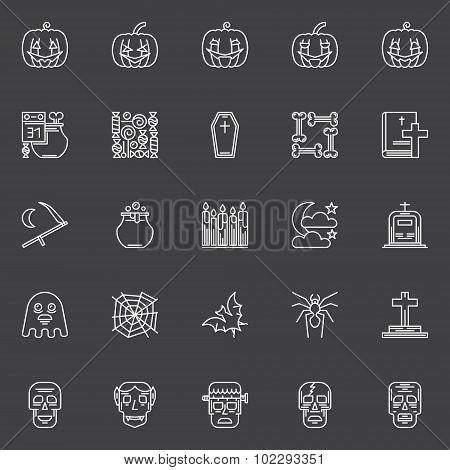 Halloween dark icons set