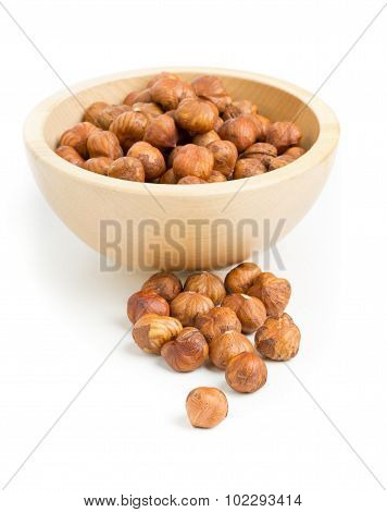 Cracked And Shelled Hazelnut In Wooden Bowl