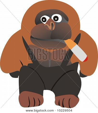 Gorilla with a cigaret