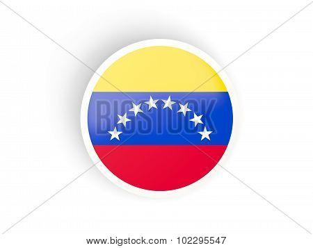 Round Sticker With Flag Of Venezuela