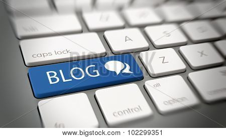 Online blog and blogspot concept with a blue enter button on a white computer keyboard with the word - Blog - and a chat icon , close up high angle view with blur vignette. 3d Rendering.