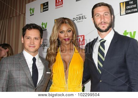 LOS ANGELES - SEP 18:  Matt McGorry, Laverne Cox, Pablo Schreiber at the TV Industry Advocacy Awards Gala at the Sunset Tower Hotel on September 18, 2015 in West Hollywood, CA