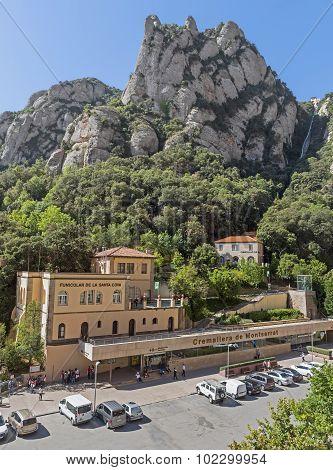 Funicular Station De La Santa Cova Of Montserrat