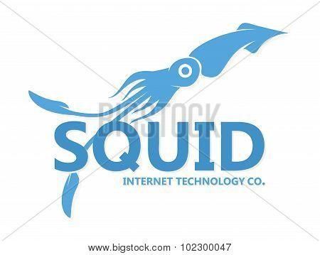 Vector squid logo. Blue squid silhouette