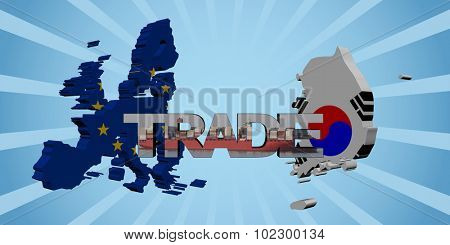 EU South Korea map flags with trade text illustration