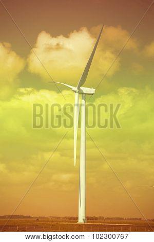 Green Energy Ecology Windmill Field Sky Background