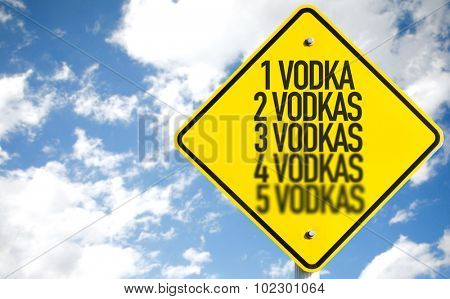 1 Vodka...5 Vodkas sign with sky background