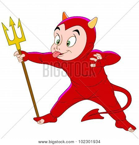 Boy In Costume Of A Devil