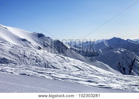 Ski Slope In Sun Morning