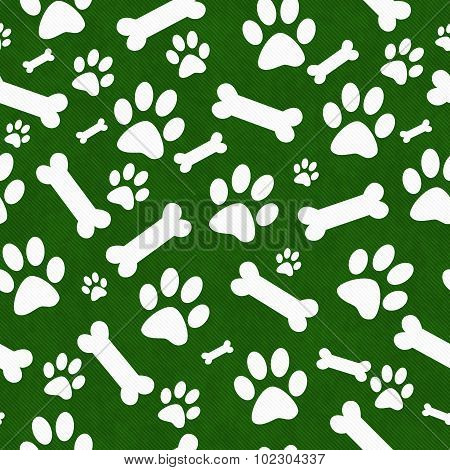 Green And White Dog Paw Prints And Bones Tile Pattern Repeat Background