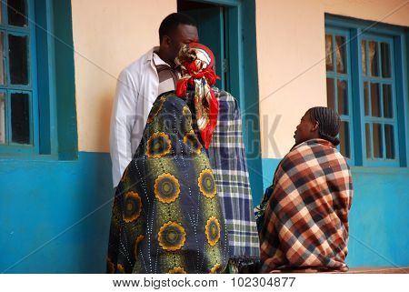 Three Women In The Dispensary Of The Village Pomerini In Tanzania Africa