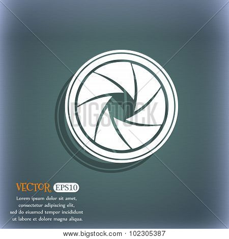 Diaphragm Icon. Aperture Sign. On The Blue-green Abstract Background With Shadow And Space For Your