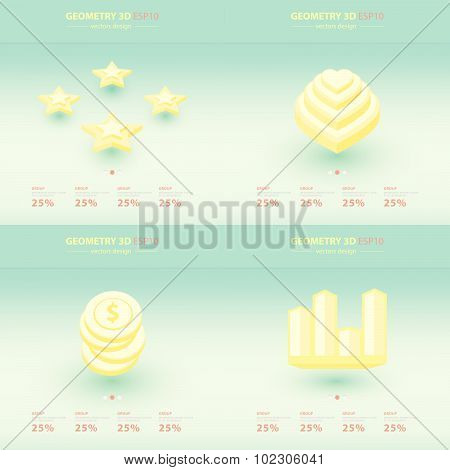 Geometry Abstract 3D Infographic And Icons Design.