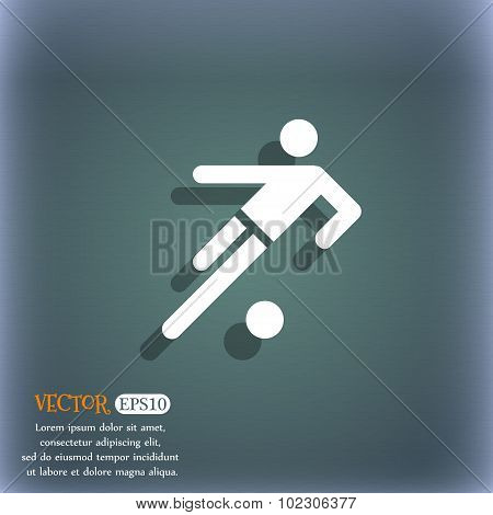 Football Player Icon. On The Blue-green Abstract Background With Shadow And Space For Your Text. Vec