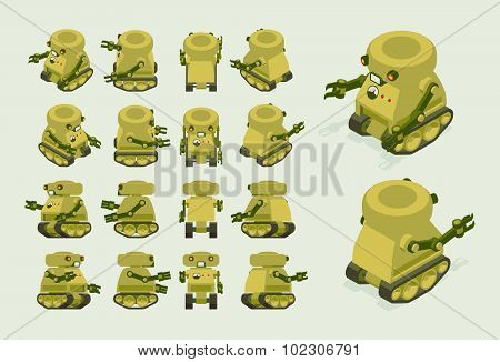Isometric khaki military robot on crawler tracks
