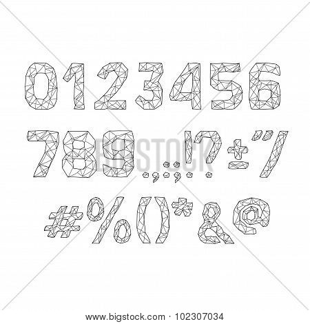 alphabet abc vector font. Type numbers, characters and punctuation marks Lowpoly Outline with triang