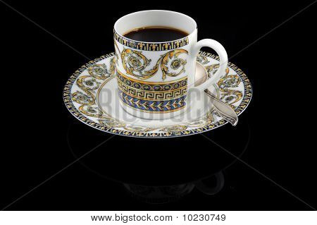 Vintage Cup Of Espresso On Black Background With Clipping Path