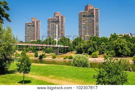 Residential Skyscrapers And Neckar Footbridge In Mannheim, Germany